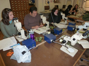 Participants at Dick Rauh's Workshop Using Microscopes